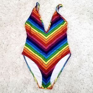 Forever 21 Rainbow high cut Swimsuit Size Small